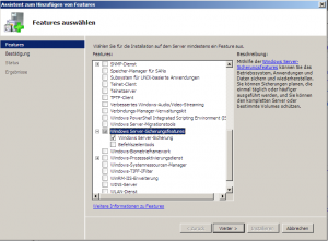 Feature des Windows 2008 Servers zur Sicherung