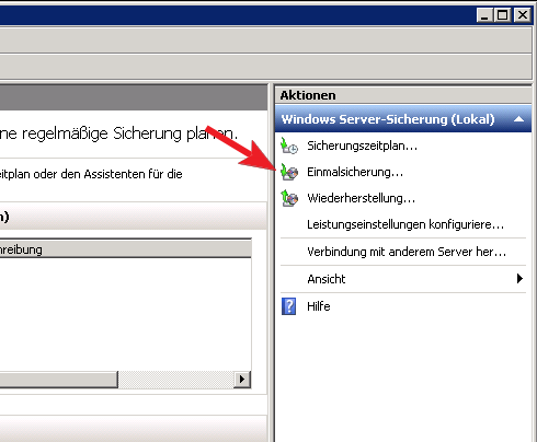 Einmalsicherung in der Windows Server Sicherung starten