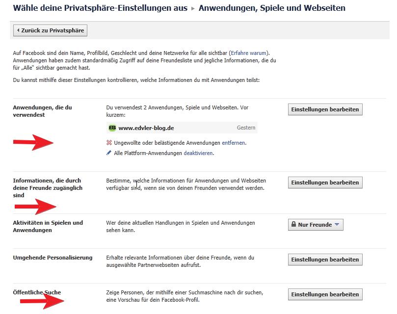 Facebook Privatsphäre - Anwendungen, Spiele, Webseiten