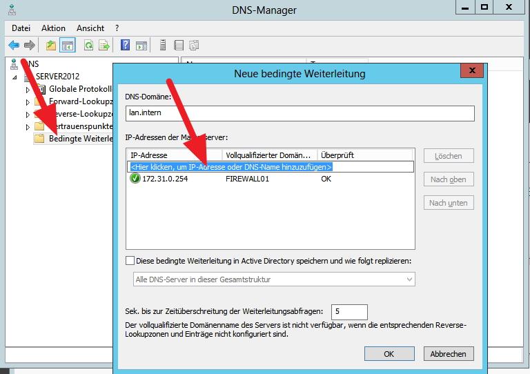 Per Rechtsklick auf Bedingte Weiterleitungen können für eine Domäne bestimmte DNS-Server angegeben werden.