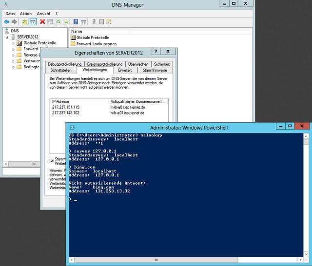 Test mit hinzugefügten Weiterleitungen. Nach dem Start von nslookup den lokalen DNS Server auswählen (server 127.0.0.1).Bing.com kann nun aufgelöst werden.