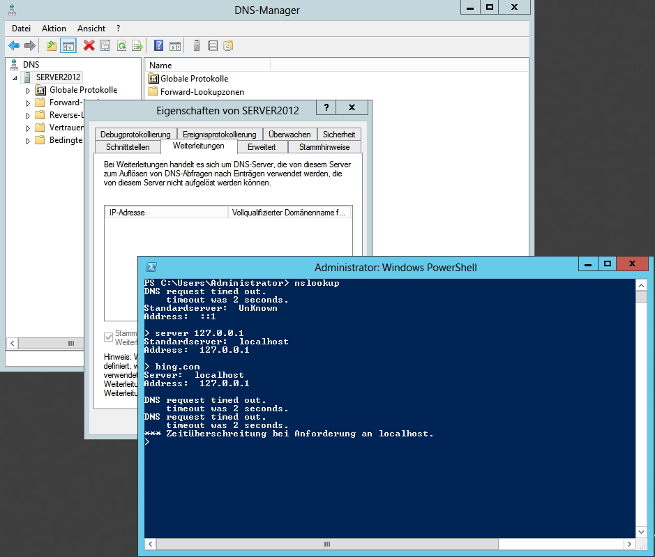 Alle Weiterleitungen sind entfernt. Zum Test nslookup gestartet und den lokalen DNS Server gewählt (server 127.0.0.1).Wie zu erwarten schlägt eine Auflösung fehl.