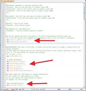 Header des Perl-Script Codes. Hier müssen die Parameter angepasst werden welche mit den roten Pfeilen hervorgehoben werden!