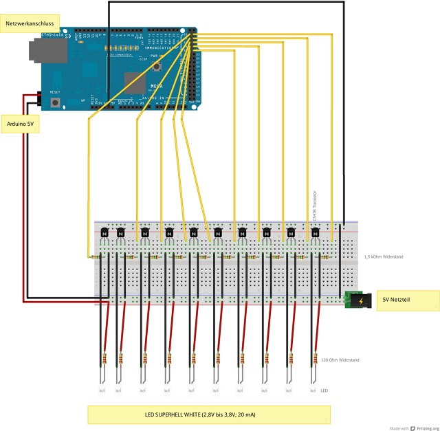 Aufbau der Ampel veranschaulicht. Es handelt sich um einfache Transistorschaltung.